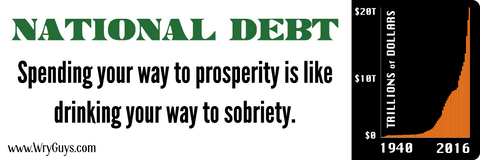 National debt bumper sticker