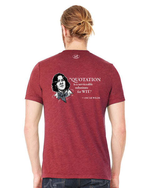 Oscar Wilde on Quotation - Men's Edition - Cardinal Red Heathered - Back