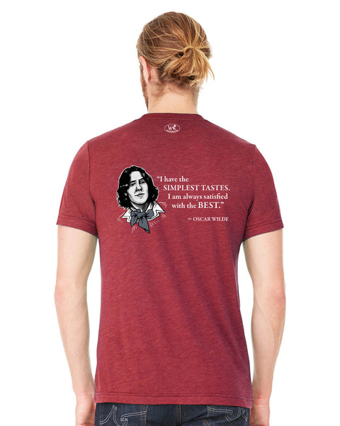 Oscar Wilde on Simple Tastes - Men's Edition - Cardinal Red Heathered - Back