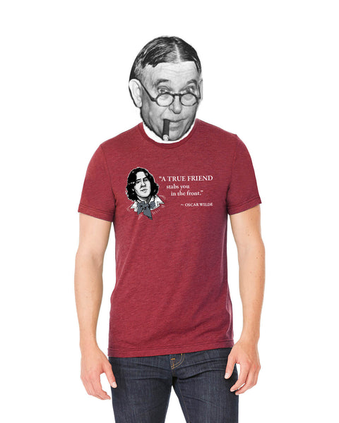 Oscar Wilde on True Friends - Men's Edition - Cardinal Red Heathered - Front