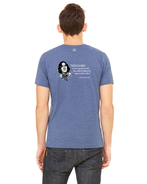 Oscar Wilde on Historians - Men's Edition - Navy Blue Heathered - Back