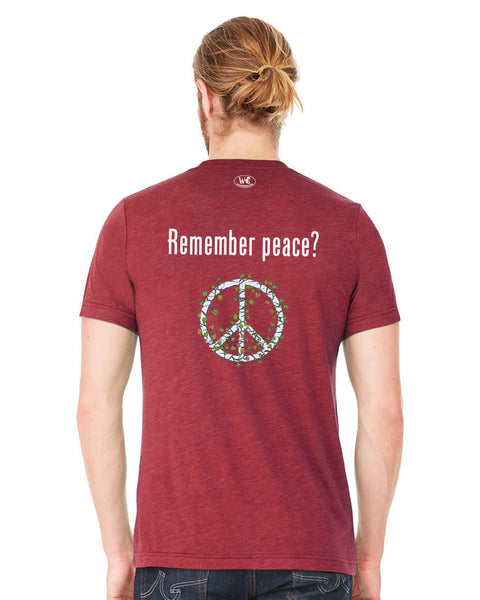 'Remember peace?' v.2 - Men's Edition - Cardinal Red Heathered - Back