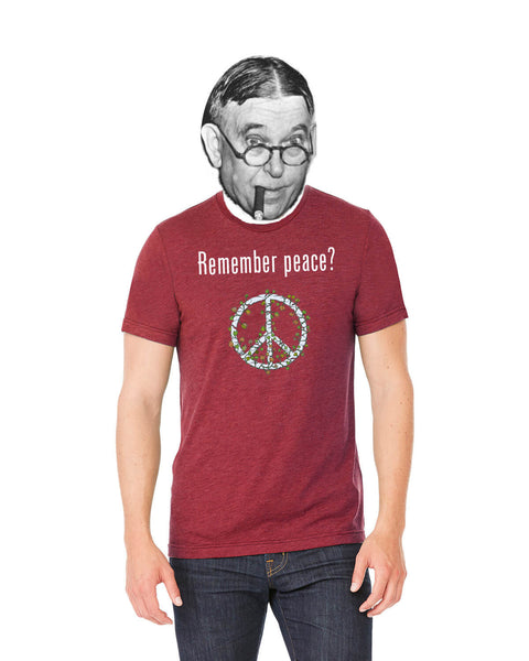 'Remember peace?' v.2 - Men's Edition - Cardinal Red Heathered - Front