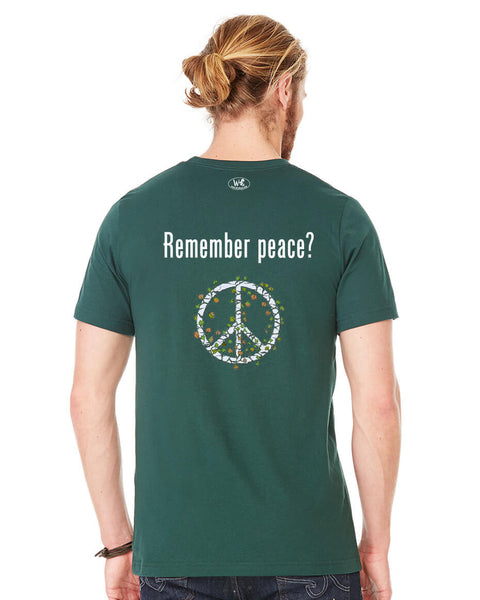 'Remember peace?' v.2 - Men's Edition - Forest Green Heathered - Back