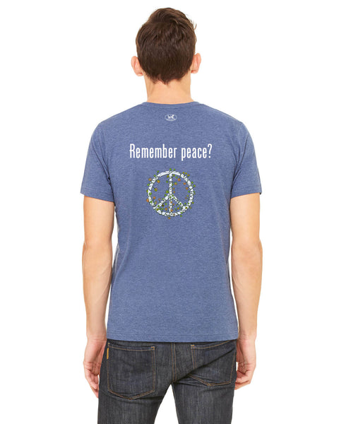 'Remember peace?' v.2 - Men's Edition - Navy Blue Heathered - Back