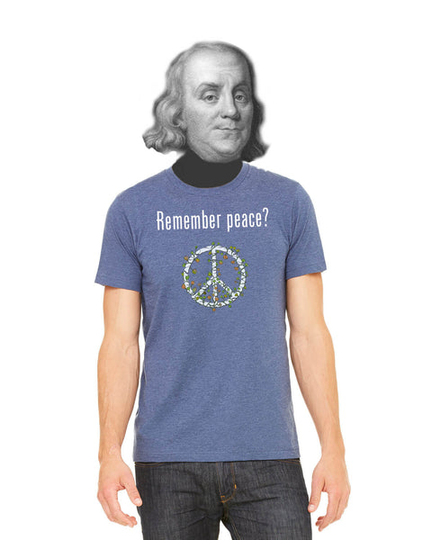 'Remember peace?' v.2 - Men's Edition - Navy Blue Heathered - Front