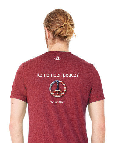 'Remember peace?' v.1 - Men's Edition - Cardinal Red Heathered - Back