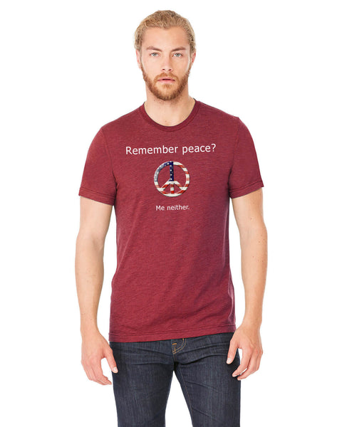 'Remember peace?' v.1 - Men's Edition - Cardinal Red Heathered - Front