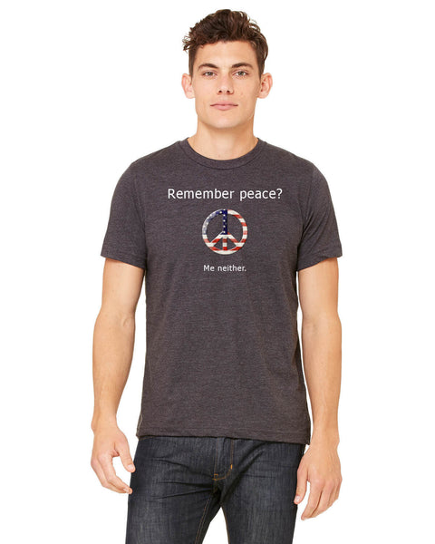 'Remember peace?' v.1 - Men's Edition - Dark Grey Heathered - Front
