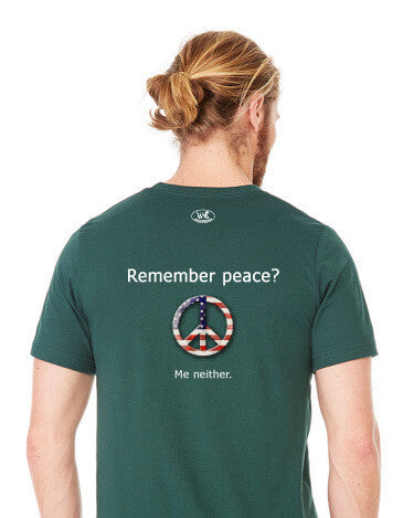 'Remember peace?' v.1 - Men's Edition - Forest Green Heathered - Back