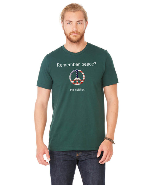 'Remember peace?' v.1 - Men's Edition - Forest Green Heathered - Front