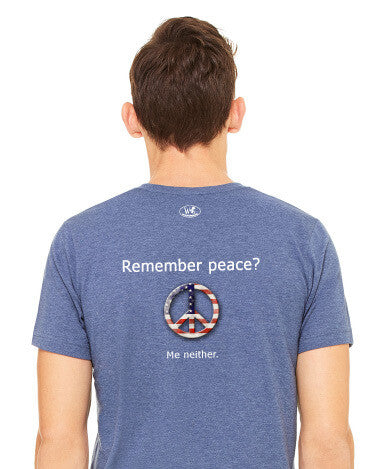 'Remember peace?' v.1 - Men's Edition - Navy Blue Heathered - Back