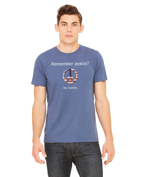 'Remember peace?' v.1 - Men's Edition - Navy Blue Heathered - Front