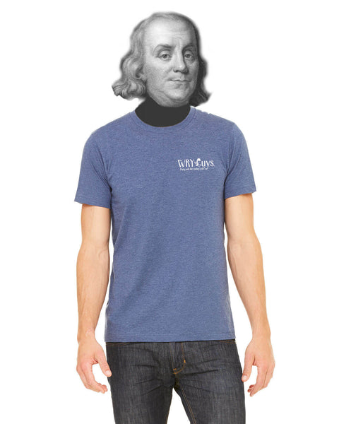 Ben Franklin on Democracy - Men's Edition - Navy Blue Heathered - Back