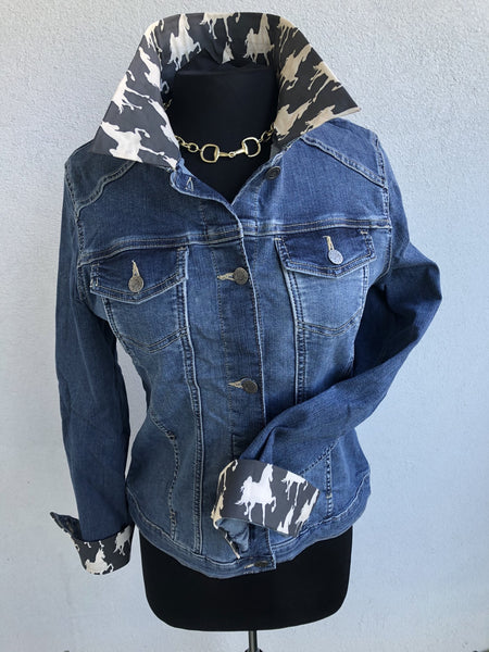 Blue Jean Jacket with a Saddlebred print