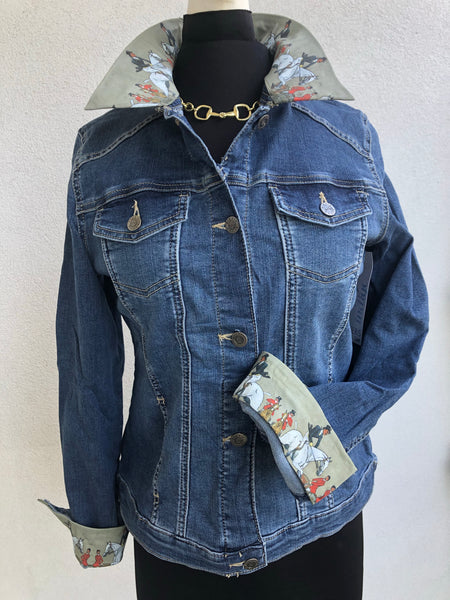 Blue Jean Jacket with an Old Fashion Hunt Print