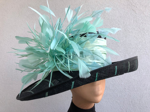 Black and Aqua Sinamay Straw