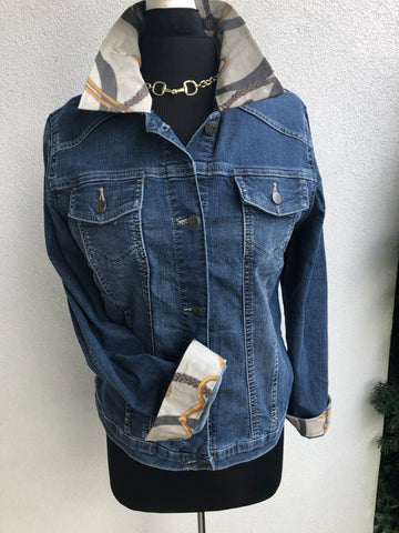 Blue Jean Jacket with Equestrian Print