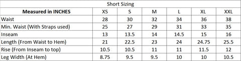 Short sizing chart