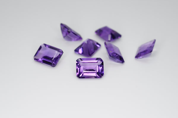 9 x 7mm Emerald Cut Natural Amethyst Calibrated A++