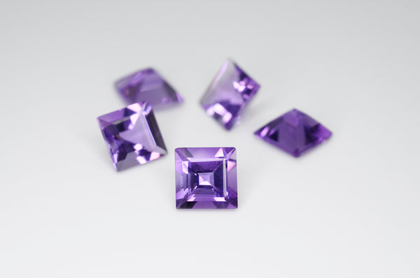 7mm Square Cut Natural Amethyst Calibrated A++