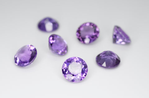 8mm Round Cut Natural Amethyst Calibrated A++