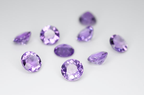 7mm Round Cut Natural Amethyst Calibrated A++