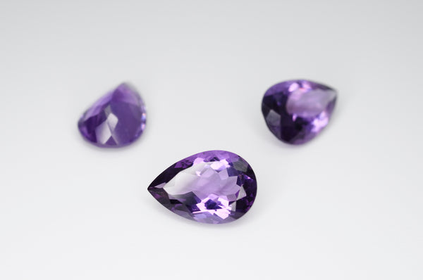 12 x 8mm Pear Cut Natural Amethyst Calibrated A++