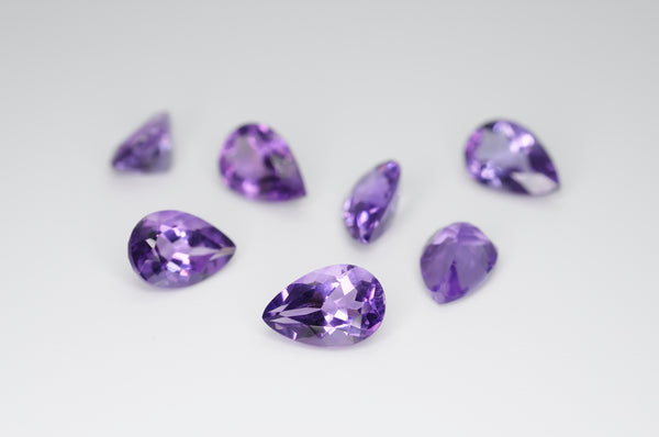 9 x 6mm Pear Cut Natural Amethyst Calibrated A++