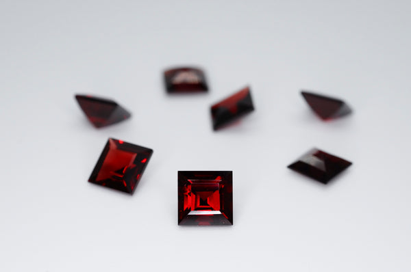 7mm Square Cut Natural Garnet Calibrated A+