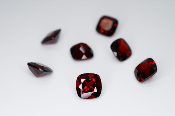 7mm Cushion Cut Natural Garnet Calibrated A+