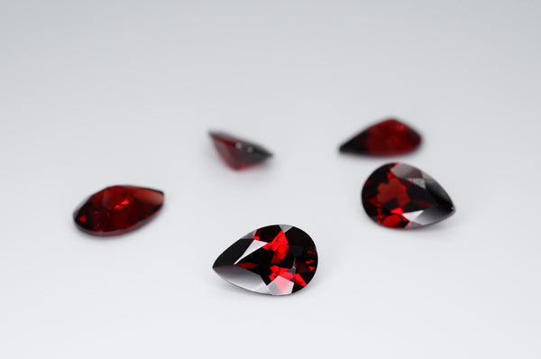 9 x 6mm Pear Cut Natural Garnet Calibrated A+