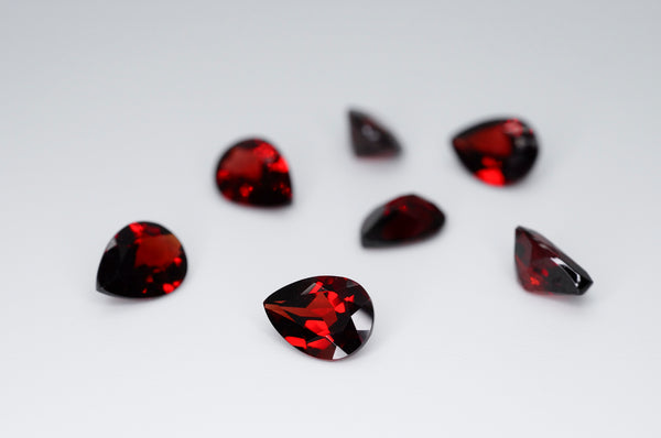 8 x 6mm Pear Cut Natural Garnet Calibrated A+