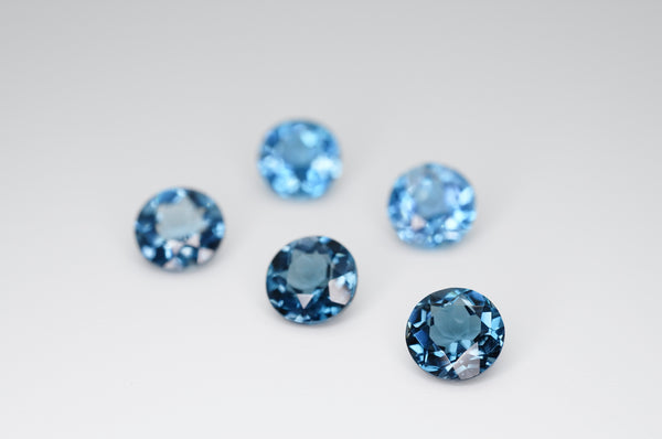 7mm Round Cut Natural London Blue Topaz Calibrated A+