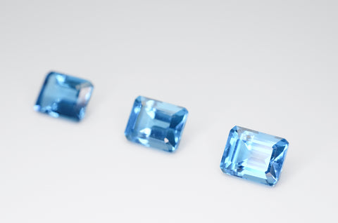 9 x 7mm Emerald Cut Natural London Blue Topaz Calibrated A+