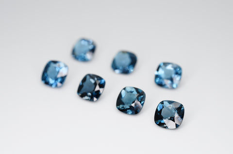 6mm Cushion Cut Natural London Blue Topaz Calibrated A+