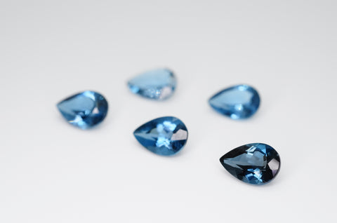 9 x 6mm Pear Cut Natural London Blue Topaz Calibrated A+