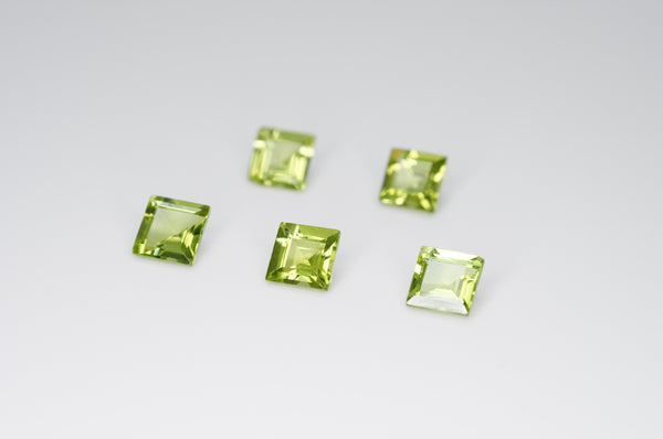 5mm Square Cut Natural Peridot Calibrated A+