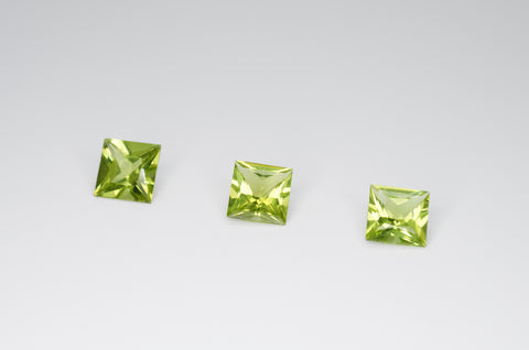 6mm Princess Cut Natural Peridot Calibrated A+