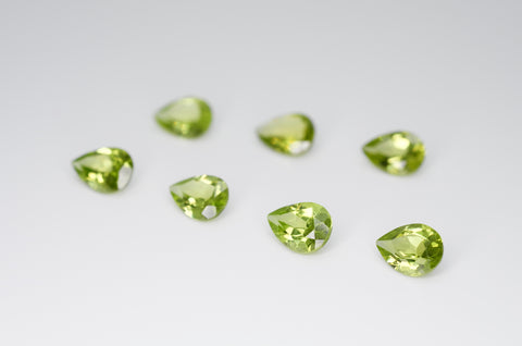 7 x 5mm Pear Cut Natural Peridot Calibrated A+