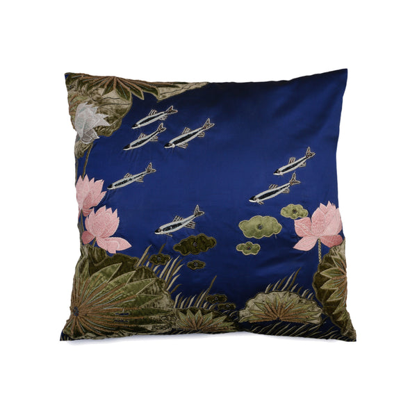 Kyoto Navy Silk Decorative Cushion