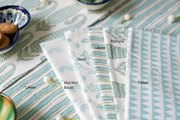 Aqua Hand block Printed Napkin Sets