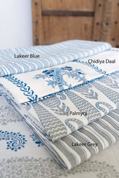 Blue/Grey Hand block Printed Table Cloths & Matching Napkin Sets