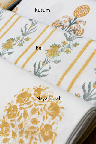 Gold Yellow Hand block Printed Tablecloths & Matching Napkin Sets