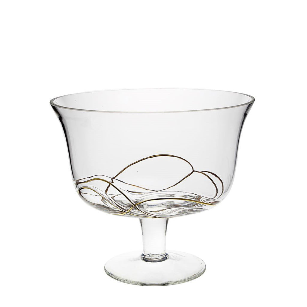 Glass Footed Bowl with Gold Swirl Design