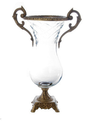 "Classic Touch 15"" Glass Brass Vase-Clear"