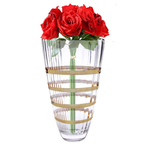 14K Gold Spiral Design Glass Vase
