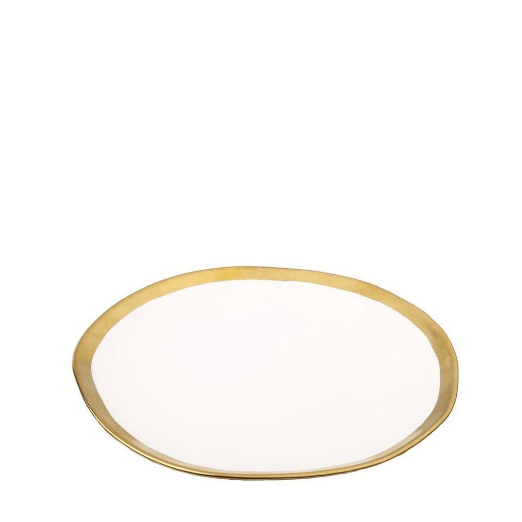 Set of 4 White Ceramic Chargers with Gold Borders