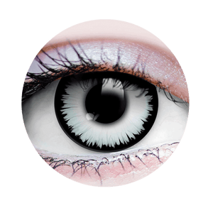 PRIMAL® werewolf white and black Halloween Costume Contact Lenses-close up