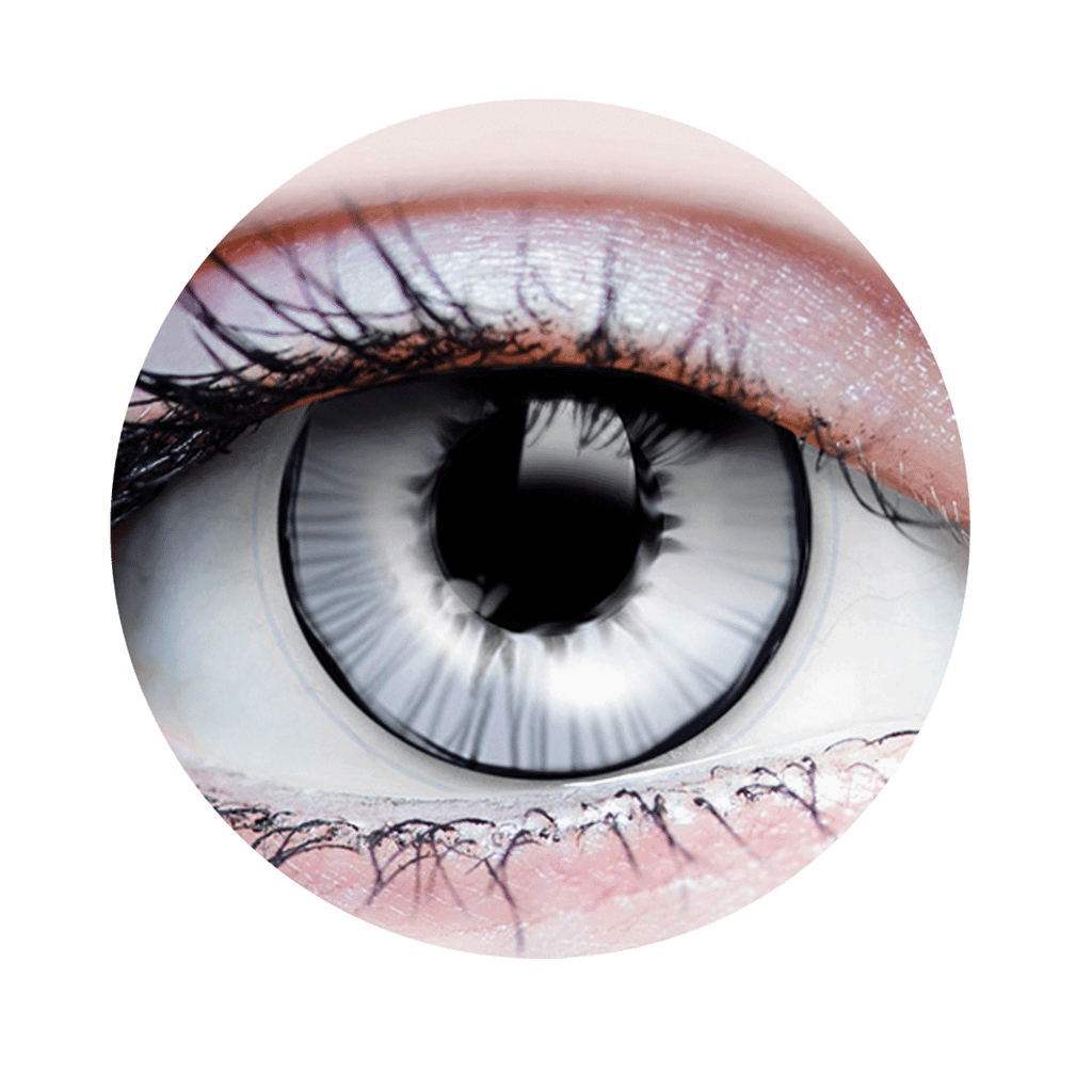 PRIMAL® Gost white and black Halloween Costume Contact Lenses-close up